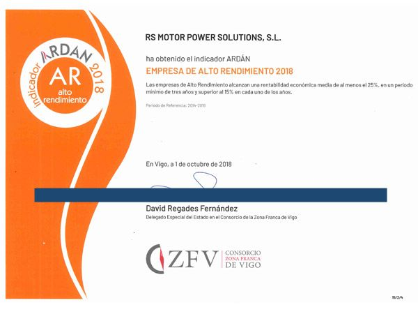 RS Motor awarded by the Vigo Free Trade Zone Consortium